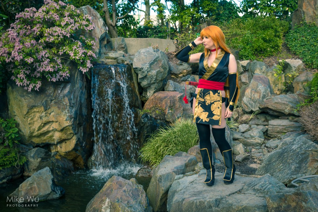 cosplay, kasumi, dead or alive, fighting, video game, ninja, nature, rocks, waterfall, training