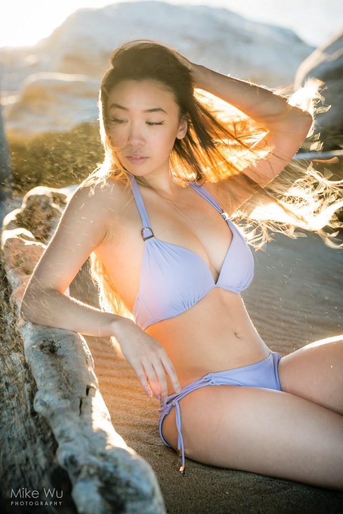 vancouver portrait photographer mike wu summer swimwear swimsuit bikini asian sunset wind golden sand beach kitsilano spanish banks english bay second beach rocks log summer hot