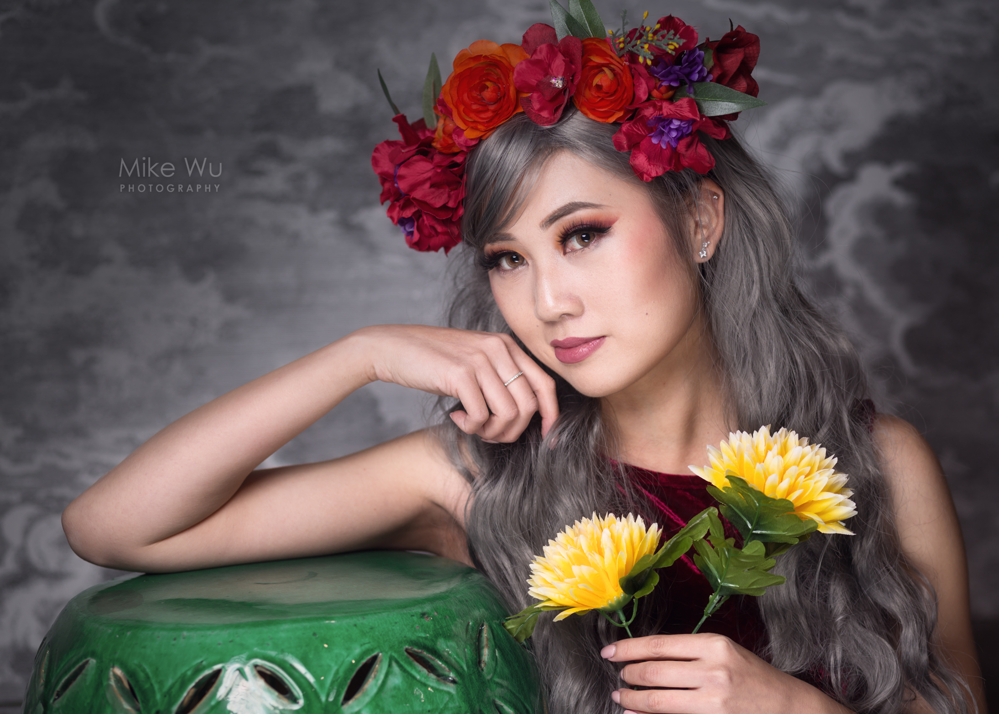 flower, beauty, roses, red, green,vase, dress, makeup, vancouver, portrait, fashion, glamour