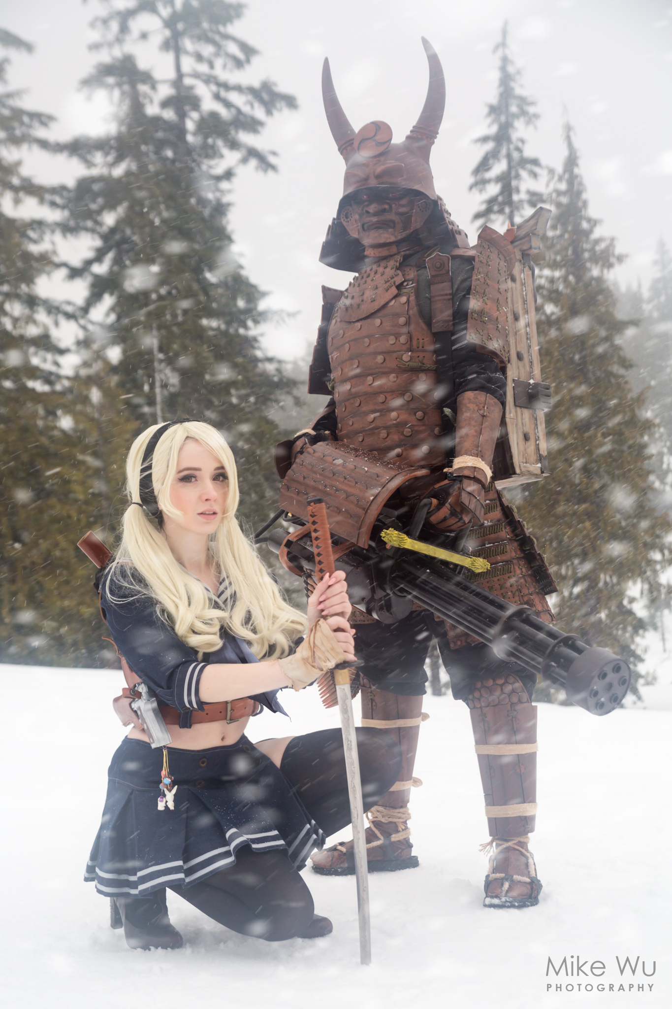 babydoll, boss, samurai, movie, cosplay, cosplayer, sword, gun, machine gun, vancouver, mountain, snow