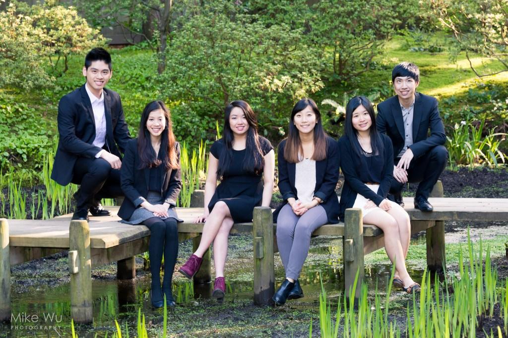 graduation, ubc, sfu, nitobe gardens, vancouver, burnaby, university, grad, formal, suit, dress, asian, garden, green, sunny, smiles, friends, group, alumni