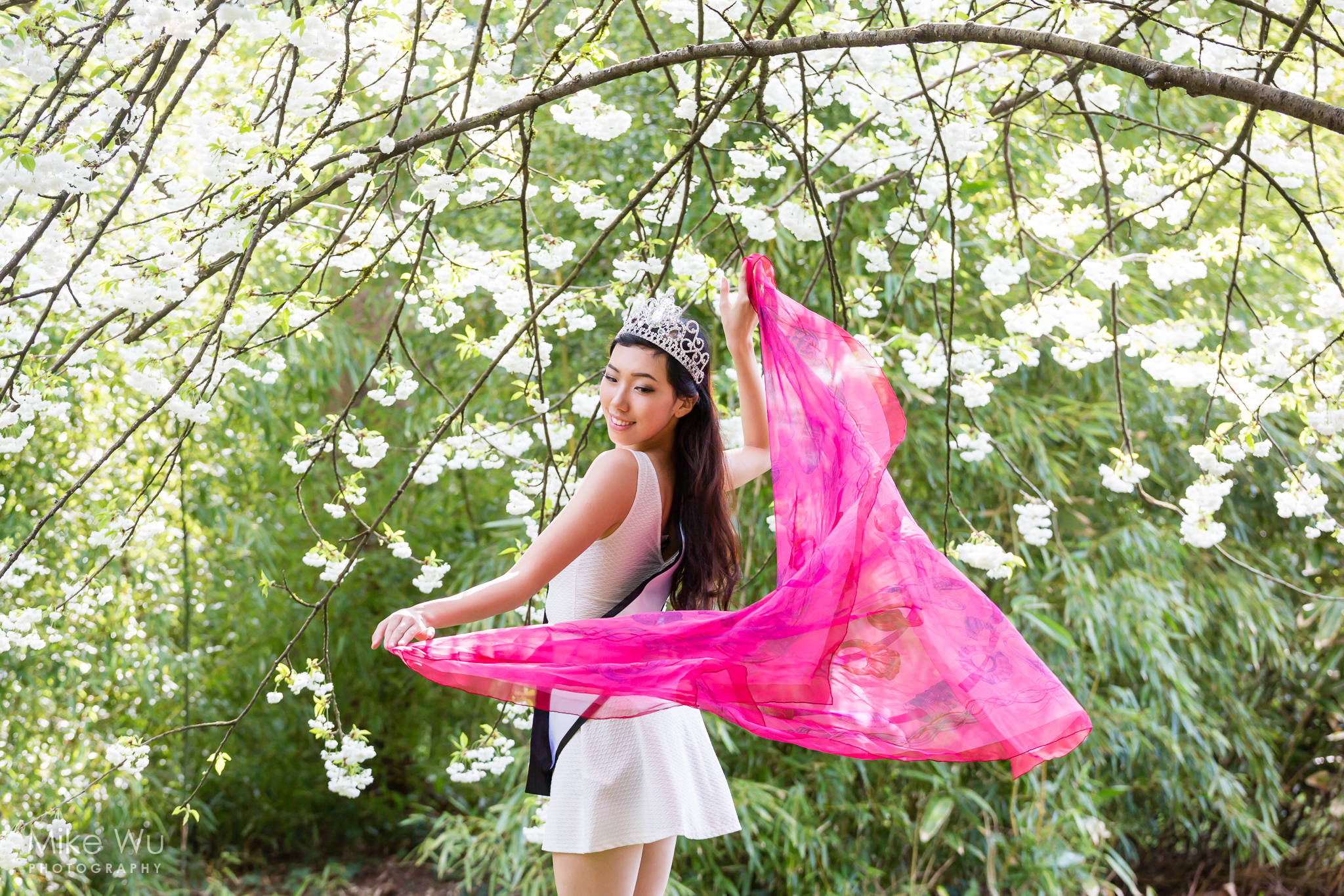van dusen gardens, photoshoot, flowers, cherry blossoms, scarf, pink, crown, miss teenage bc, winner, white dress, green foilage, nature, environment, beauty