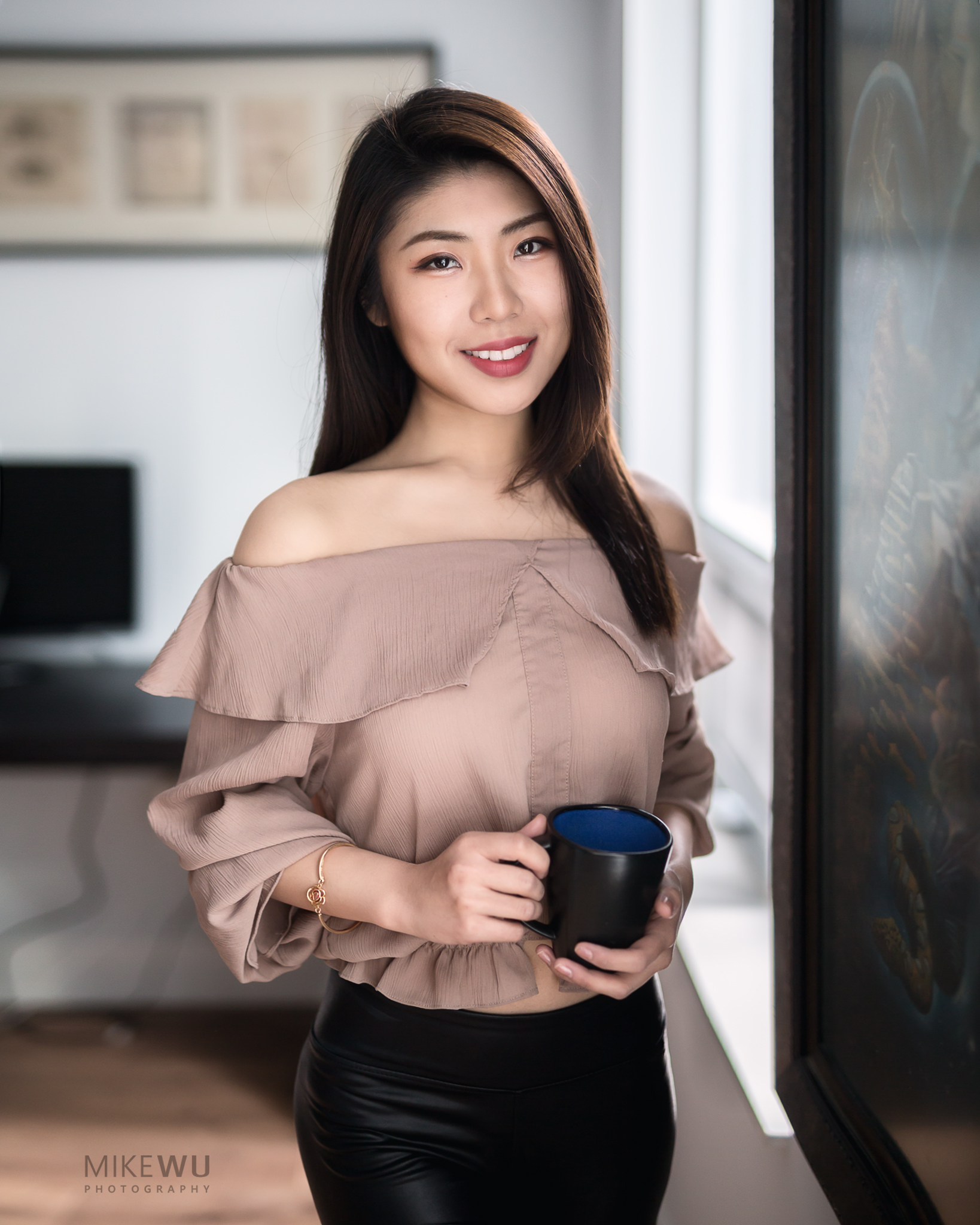cup, portrait, indoors, window, toronto, photoshoot, portrait, painting, asian, canada, smile, hair, bright, happy