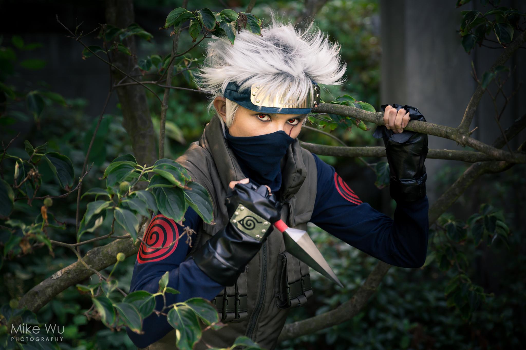 kakashi, ninja, naruto, anime, manga, leaf, kunai, cosplay