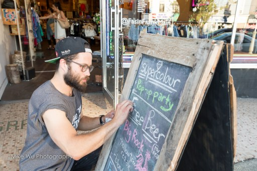 supercolour, vancouver, pop-up party, beer, big rock, vancouver, event, store, clothes, fashion, chalkboard, writing, sign, street, window, display, fasinfrank, main