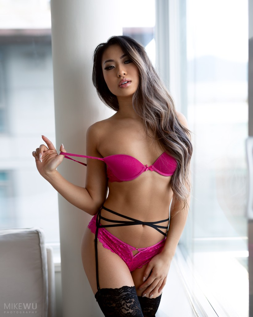 vancouver portrait photographer mike wu boudoir stunning indoor studio photography natural window light panty bra beauty asian carly yee sexy pretty alluring pink white column photoshoot lingerie pull