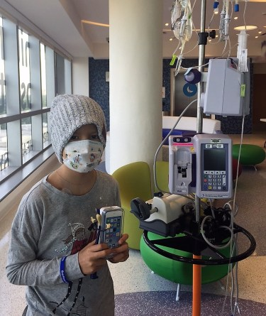 Pediatric Cancer patient with IV pole