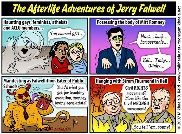 Recently deceased Rightist US televangelist Jerry Falwell, cartoon by Mikhaela