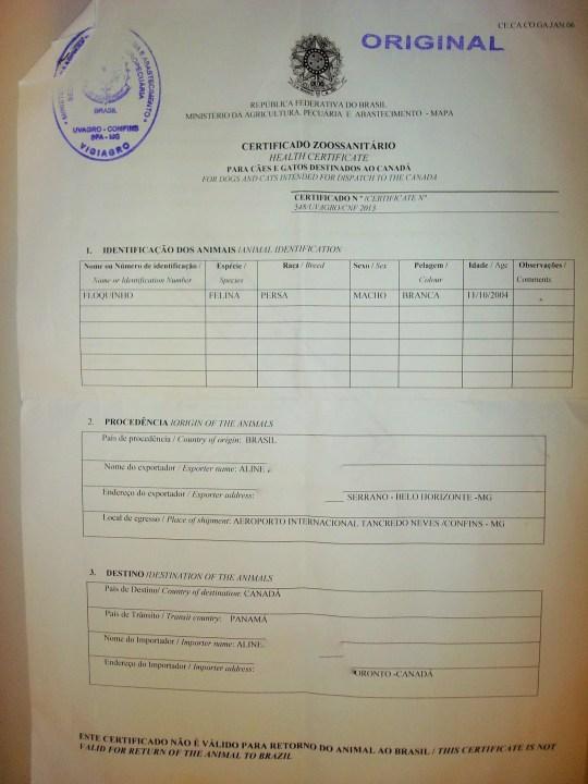 Certificado Internacional de Animais