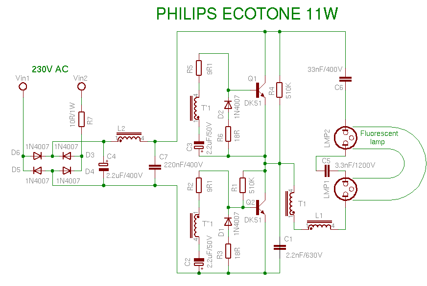 Bauteile aus Energiesparlampe Schaltung  Mikrocontrollernet