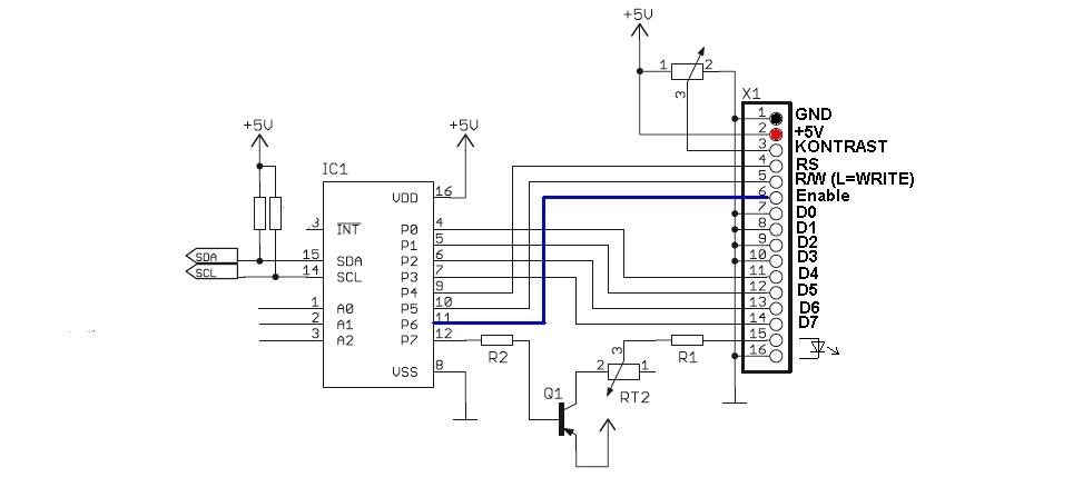 pcf8574 lcd twi i2c initialisierung scanner assembler atmega8