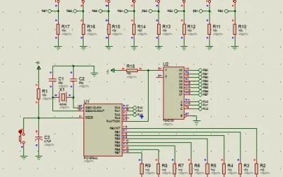 PIC16 74HC151 activación manual de leds