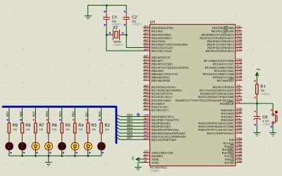 PIC18 activación de leds de 0 a 255