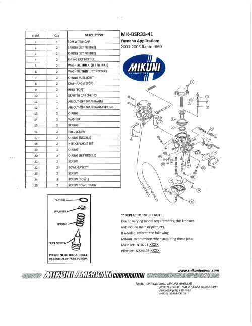 small resolution of mikuni mk bsr33 41 carburetor rebuild kit exploded view parts list