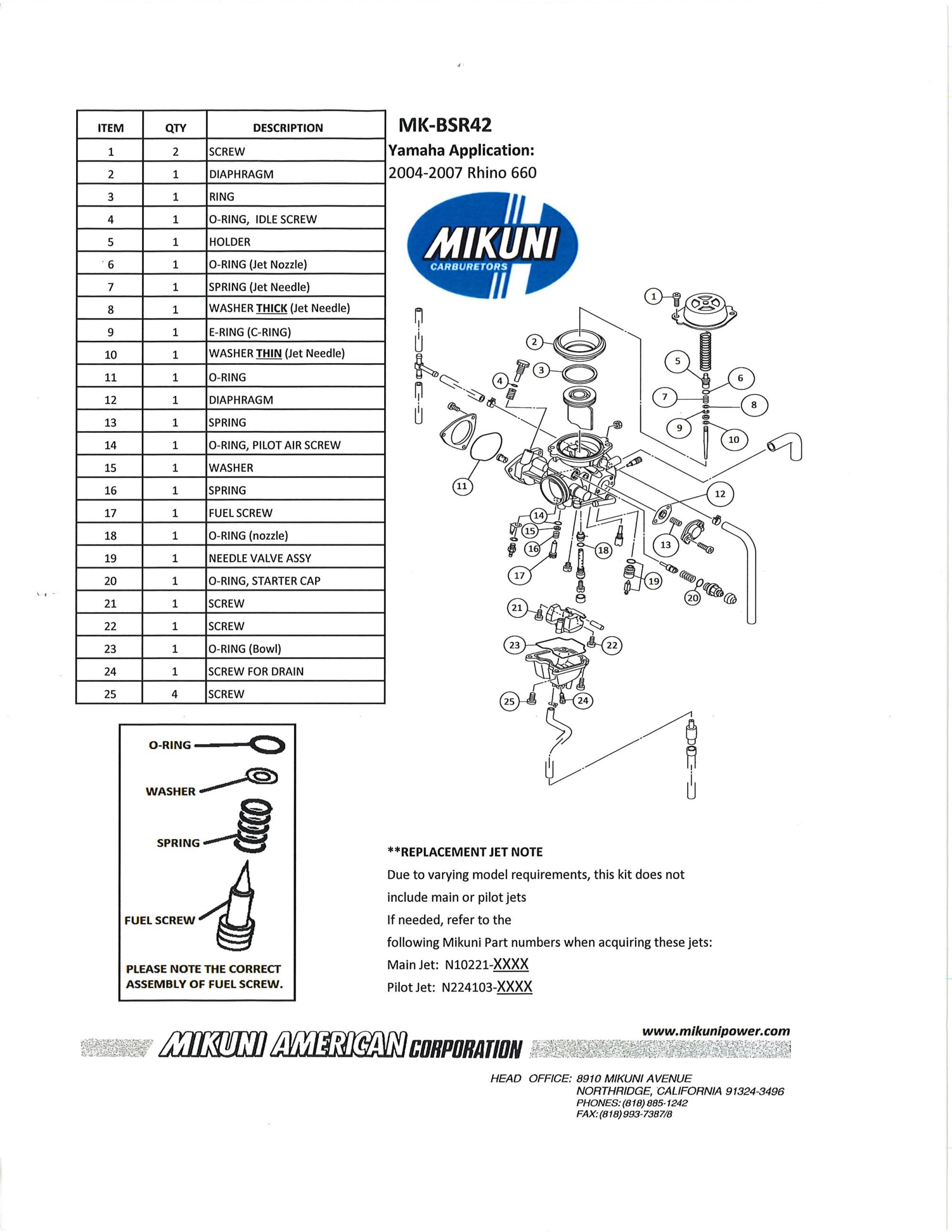 hight resolution of mikuni mk bsr42 carburetor rebuild kit exploded view parts list