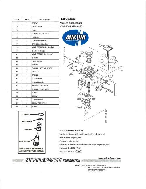small resolution of mikuni mk bsr42 carburetor rebuild kit exploded view parts list