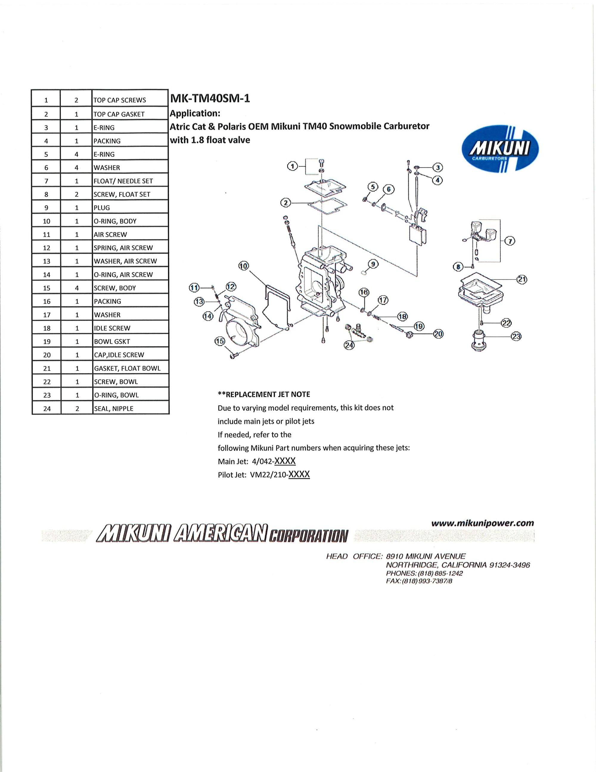 hight resolution of fits oem mikuni tm40 carburetors on arctic cat and polaris snowmobiles with a 1 8 float valve