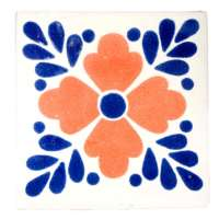 M059 Lester blue and terracotta 10.5 x 10.5cm - Milagros