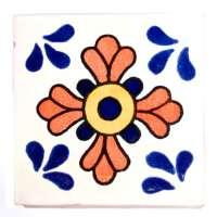 M054 Seville Blue and terracotta 10.5 x 10.5cm - Milagros