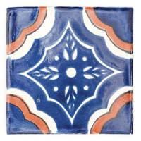 M061 Palacio blue and terracotta 10.5 x 10.5cm - Milagros
