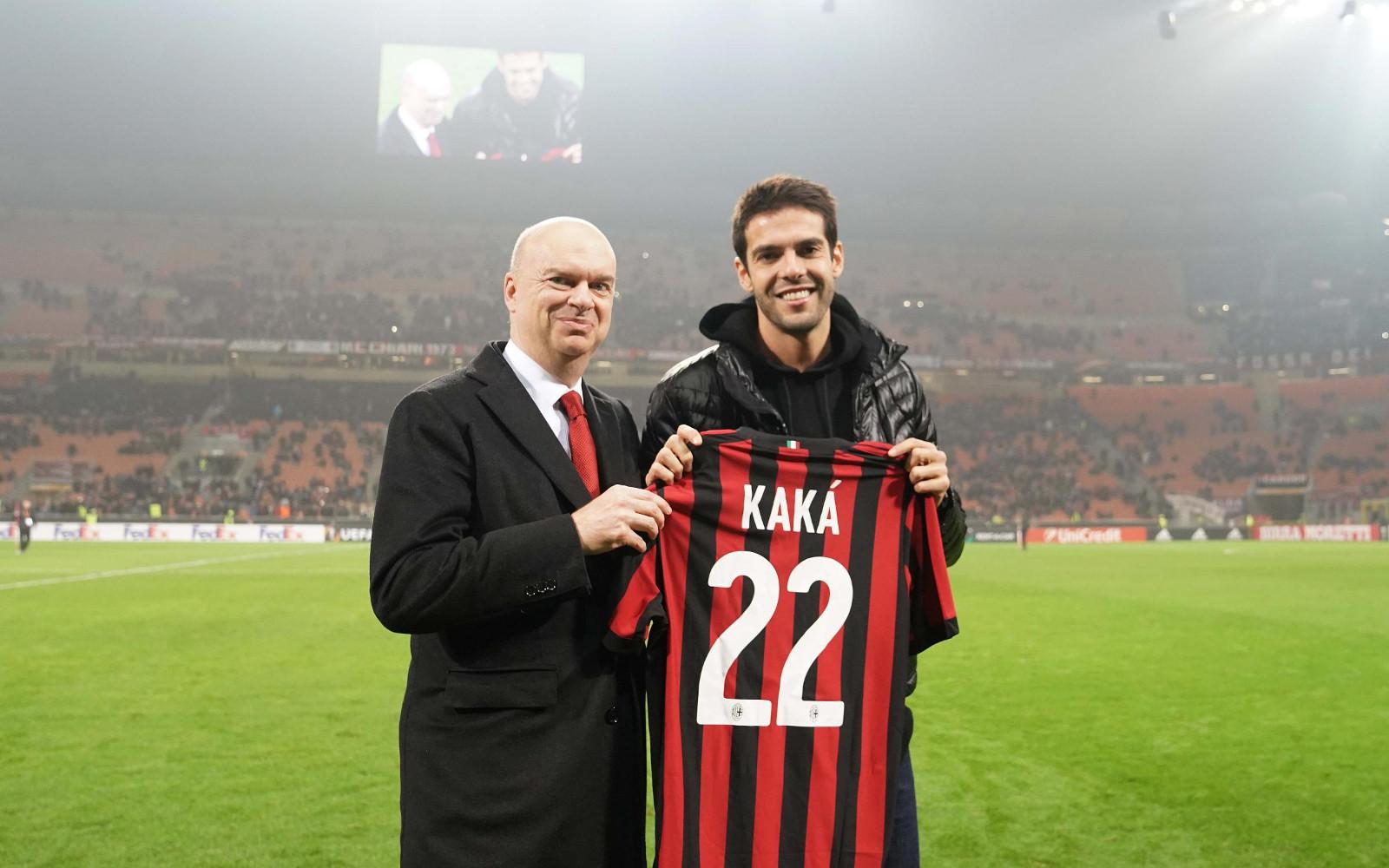L'a.d. del Milan Marco Fassone e Ricky Kakà