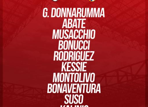 La formazione ufficiale dei rossoneri per Milan-Bologna, Serie A 2017-18
