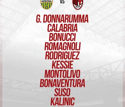 La formazione ufficiale dei rossoneri per Hellas Verona-Milan, 17° giornata di Serie A 2017-18
