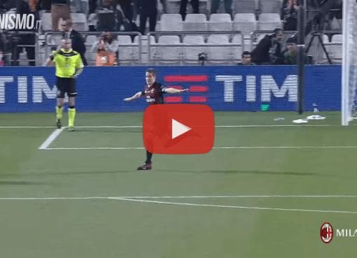 L'esultanza di Mario Pasalic dopo il rigore vincente in Juventus-Milan 4-5, finale di Supercoppa Italiana a Doha