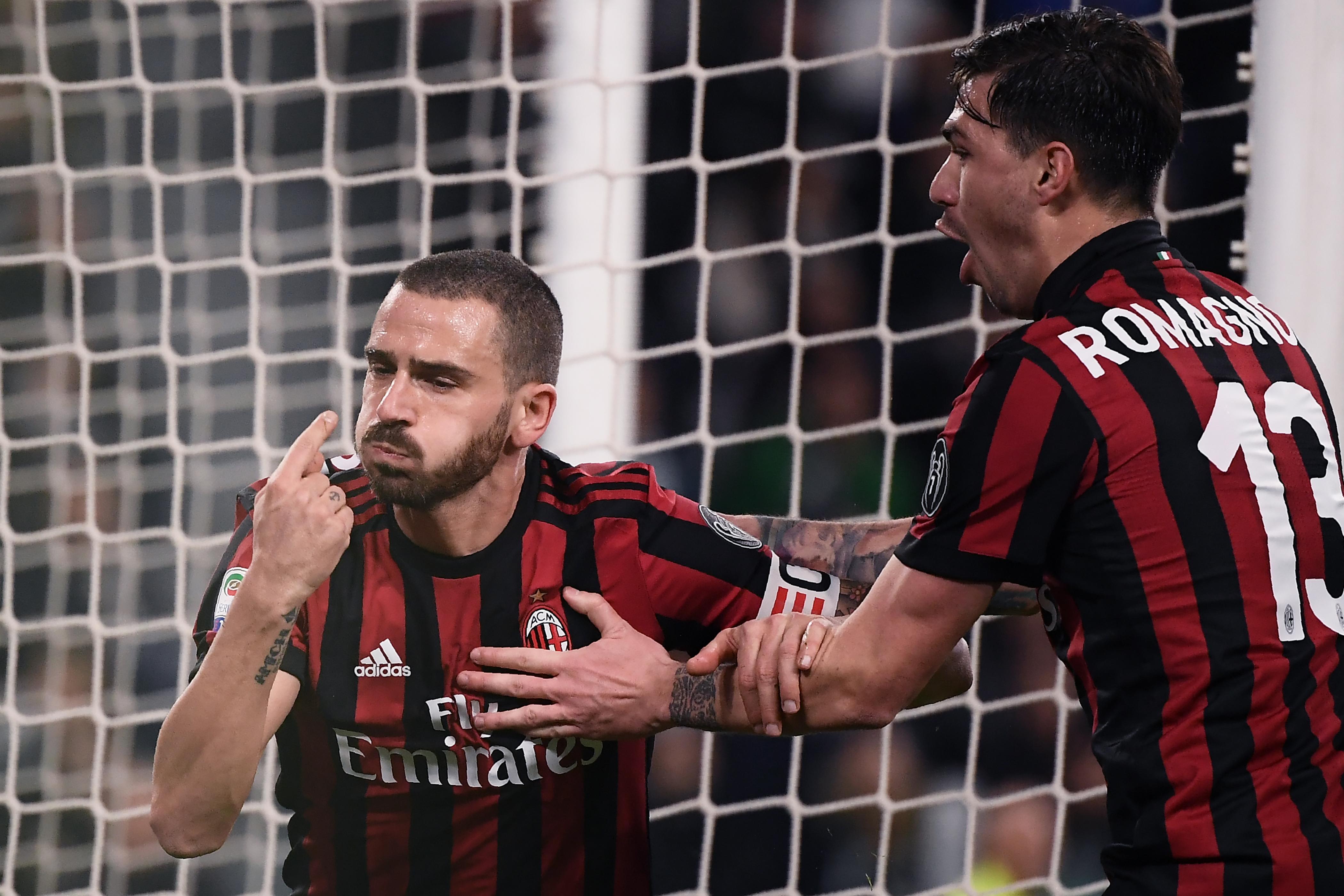 Leonardo Bonucci esulta dopo il proprio gol in Juventus-Milan