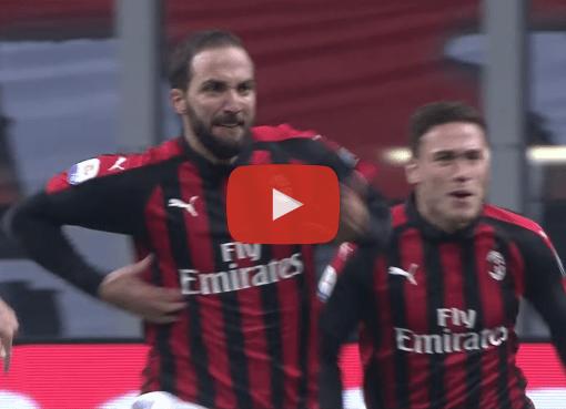 Gonzalo Higuain esulta dopo il gol in Milan-SPAL