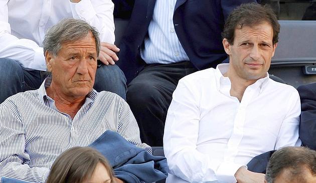 AC Milan's coach Allegri, Sporting Director Braida and former coach Galeone attend the Rome Masters tennis tournament