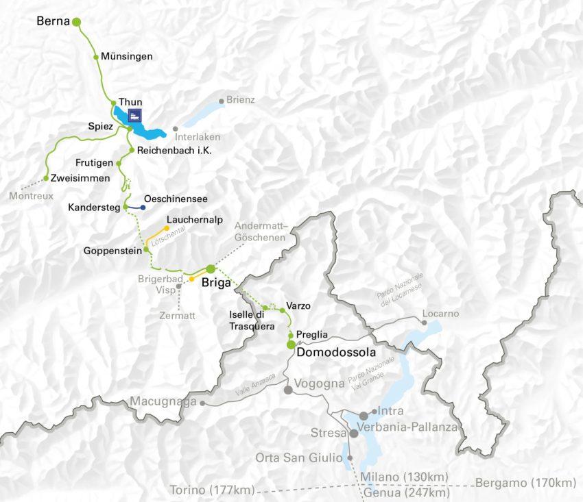 Itinerario del Trenino Verde delle Alpi