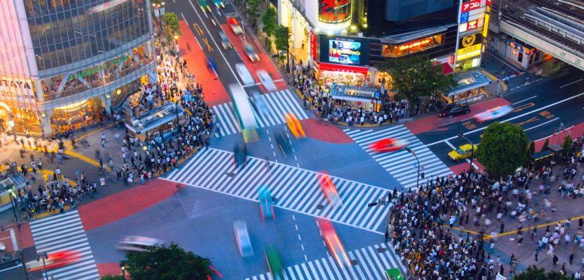 Shibuya crossing in the evening