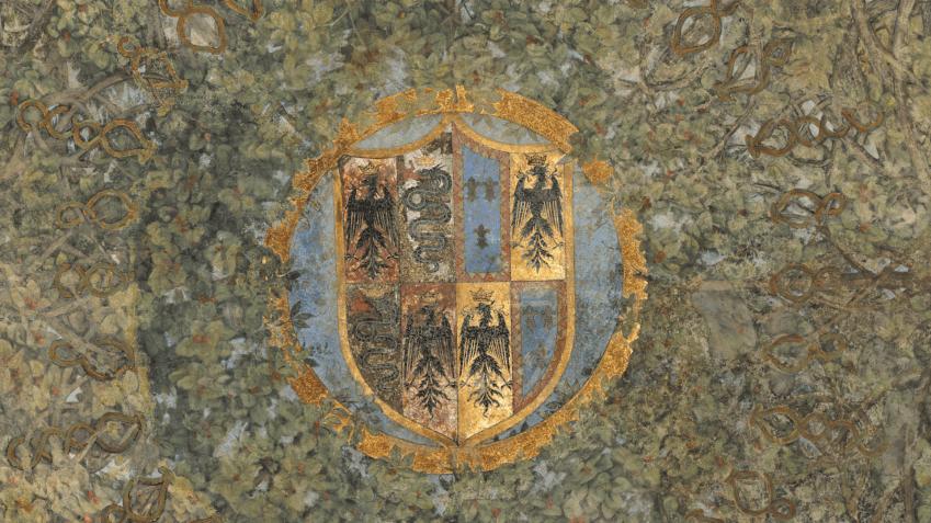 Milano, Castello Sforzesco, Sala delle Asse, volta, stemma, prima del restauro, 2012. Photo by Haltadefinizione