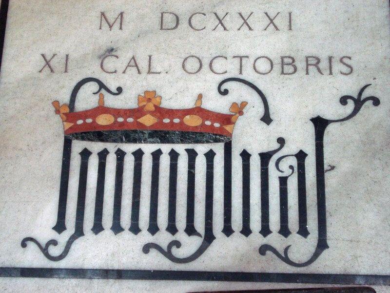 Tomba del cardinal Federico Borromeo nel Duomo di Milano, con il motto della famiglia: Humilitas