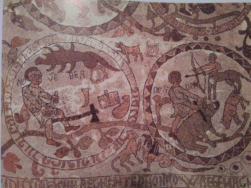 Prete Pantaleone, Zodiaco con i mesi di novembre e dicembre, 1163-65, Otranto, Cattedrale.
