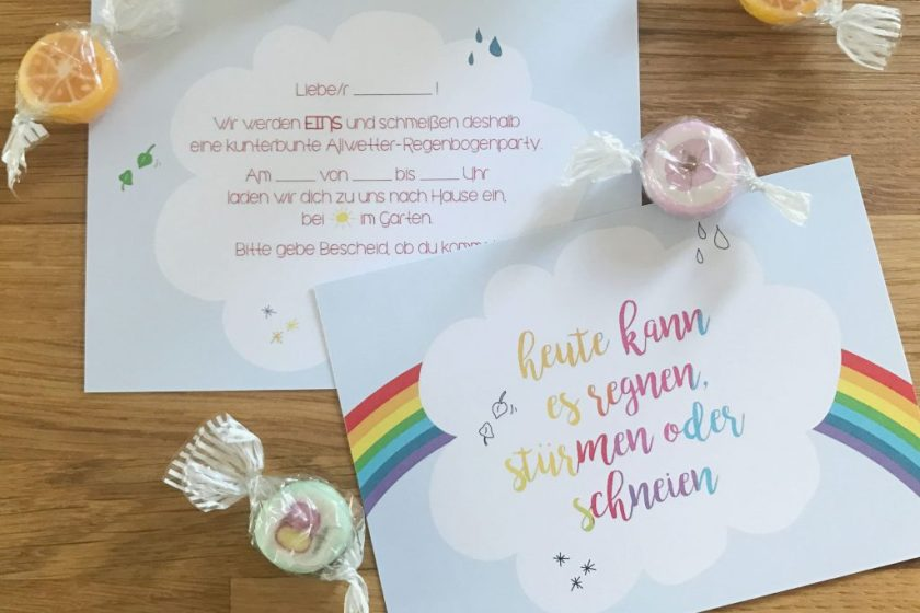 Regenbogen Kindergeburtstag Einladungen