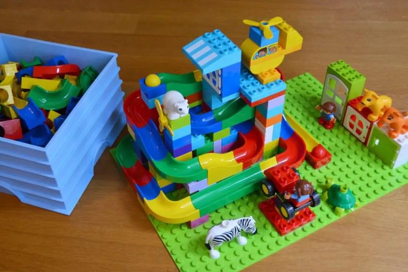Hubelino Kugelbahn mit Lego Duplo Erfahrungen