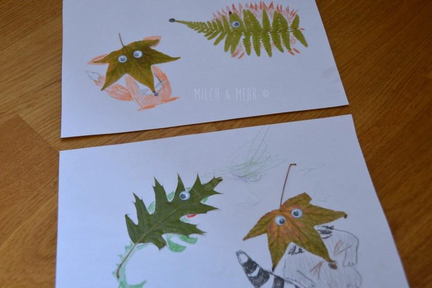Herbst Bastelidee Figuren aus Blaettern