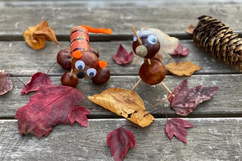 Kastanienfiguren Basteln mit Kindern im Herbst