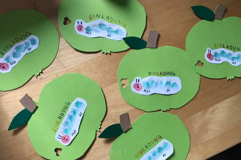 Raupe Nimmersatt Kindergeburtstag Einladungskarten Basteln