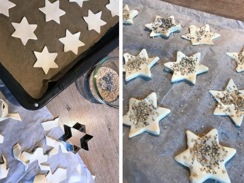 Sterne aus Blaetterteig Snack