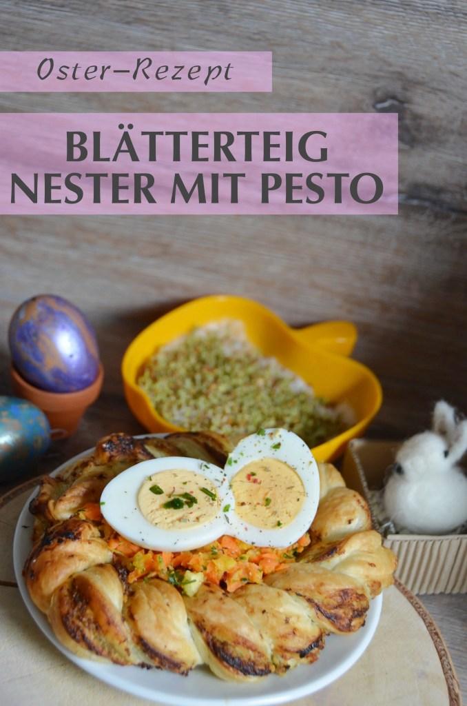 Blaetterteig Nest mit Pesto und Ei zu Ostern