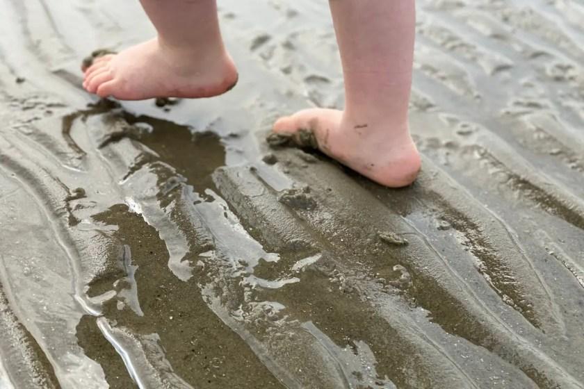 Babyfuesse im Wattenmeer