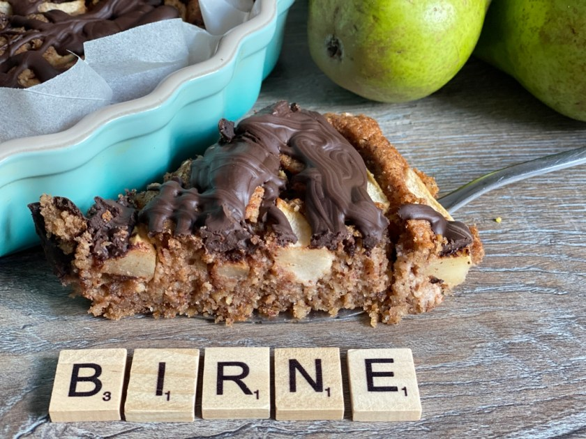 Birne Nuss Kuchen mit Schoklade