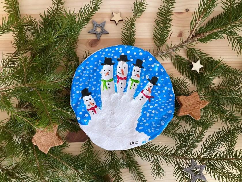 Handabdruck Schneemaenner Salzeig Weihnachten