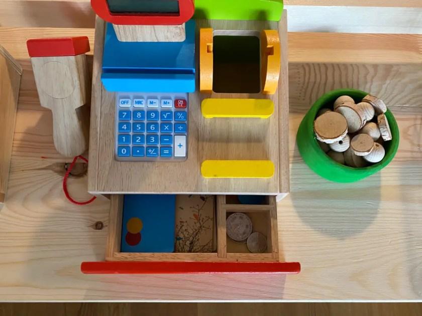 Kaufladen Holz Kasse