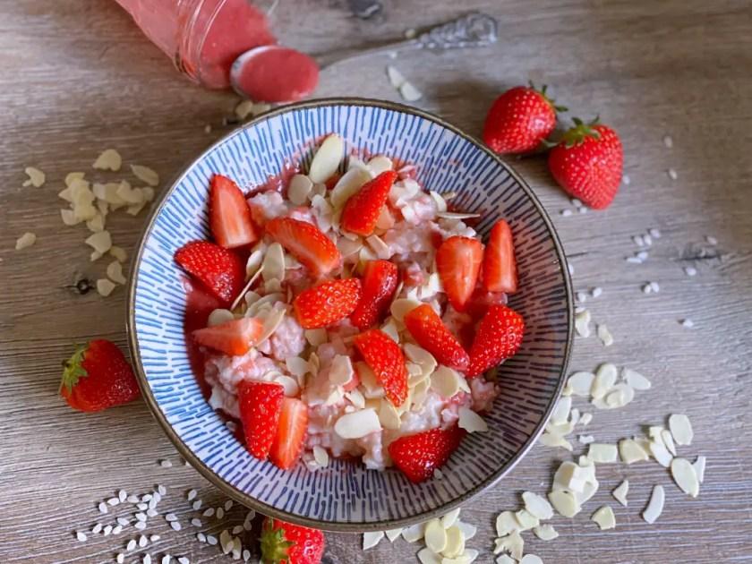 Rezepte mit Erdbeeren veganer Milchreis