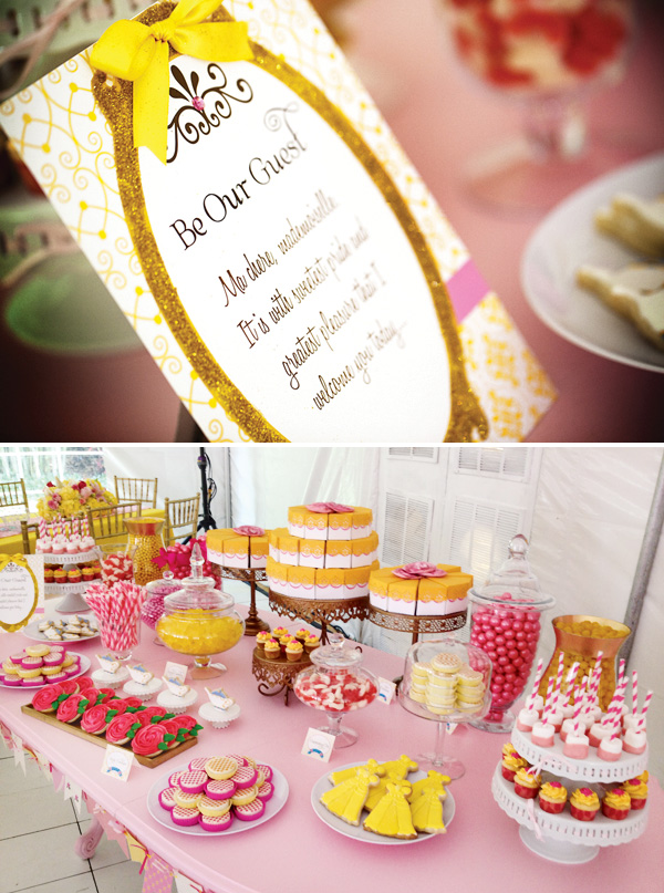 mesa decoração festa a bela e a fera