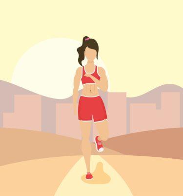 Ilustração de mulher fazendo exercício físico